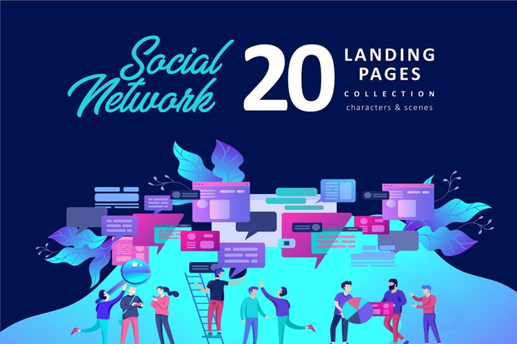 Landing page chat & social network example image 1