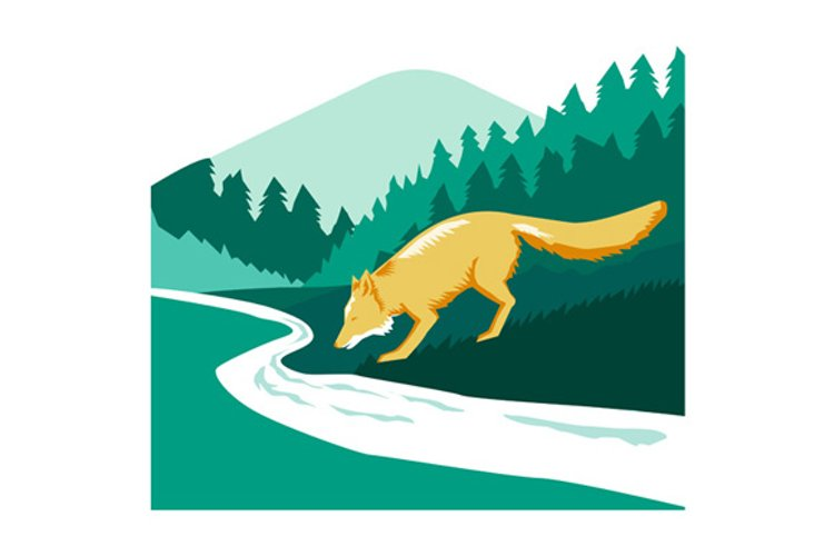 Fox Drinking River Creek Woods Square Retro example image 1