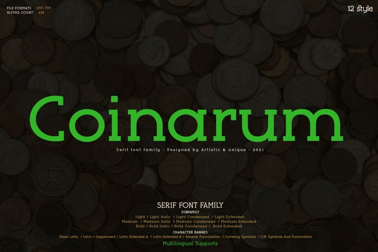 Coinarum - Serif font family example image 1