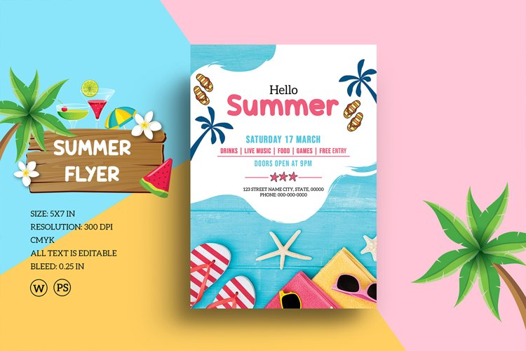 Summer Party Flyer, Ms Word & Photoshop Template
