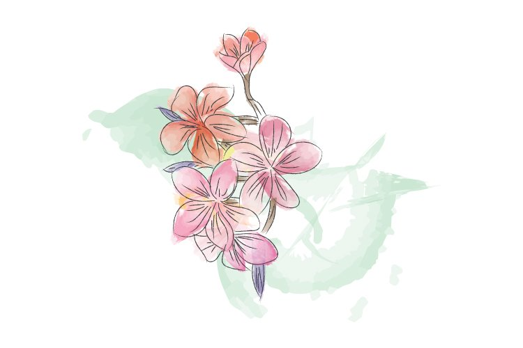 nice flower in watercolor example image 1