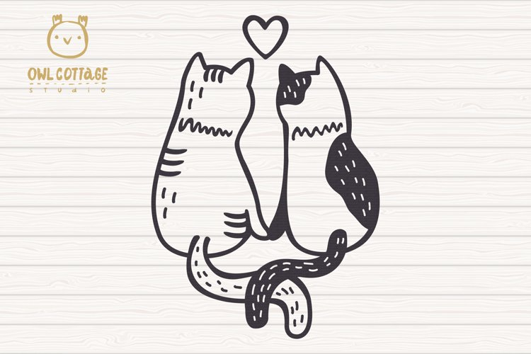 Valentine Cats Couple svg , Cats Clipart, Valentine's Day Sv - Free Design of The Week Design0