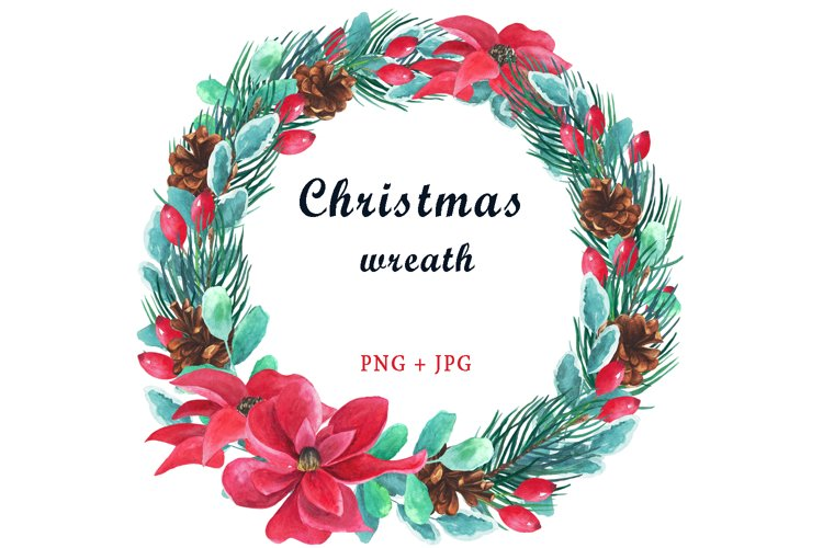 Watercolor Christmas Wreath Clipart. Xmas Wreath PNG