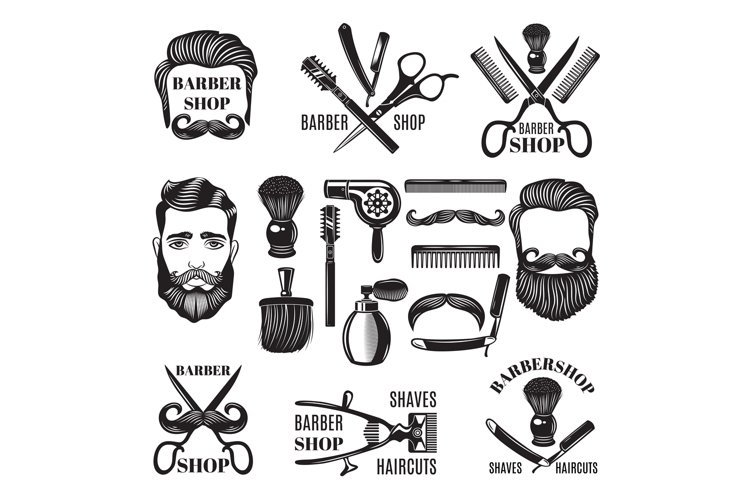 Monochrome pictures of barber shop tools. Vector illustratio example image 1