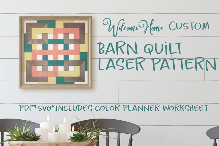 Modern Farmhouse Barn Quilt SVG for Laser Cut file example image 1