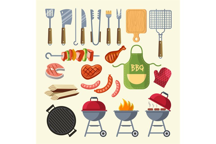 Vector cartoon illustration of meat, sauce, grill and other example image 1