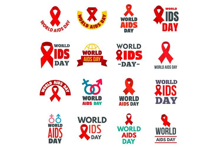 World AIDS day logo set, flat style example image 1