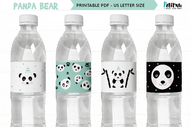 Panda Bear Water Bottle Labels, panda party labels, DIY Wrap