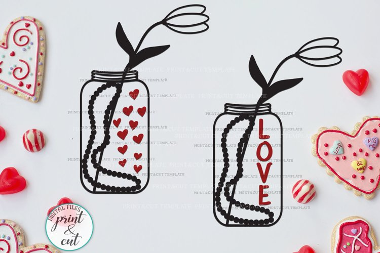 Valentines day Jar with Flower and Hearts Love text svg cut example image 1
