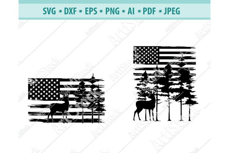Deer hunting Svg, Forest SVG, US Flag Hunting Dxf, Png, Eps