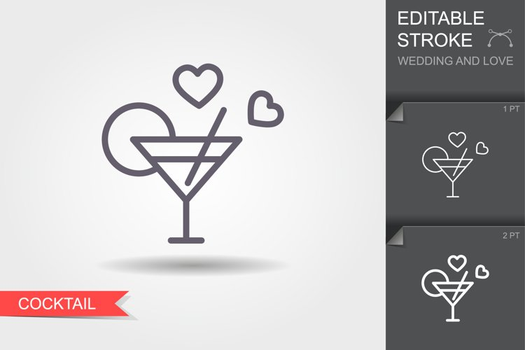 Cocktail . Line icon with shadow and editable stroke example image 1