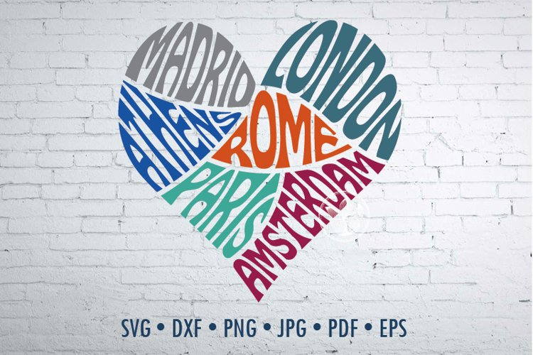 Wanderlust Europe travel SVG cut file in a Heart Shape example image 1