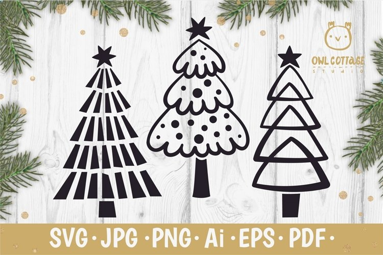 Christmas Trees SVG, Xmas trees svg set, Scandinavian style example image 1