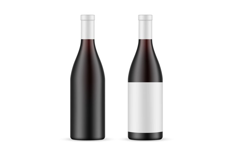 Dark Glass Wine Bottle With Label and Blank Mockup example image 1