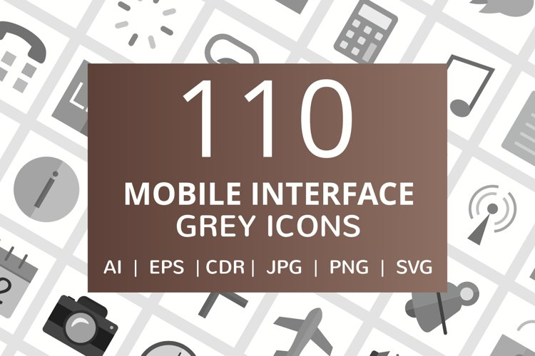110 Mobile Interface Flat Greyscale Icons example image 1