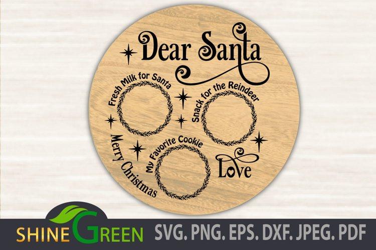 Santa Tray SVG Cut File, Dear Santa Tray Round example image 1
