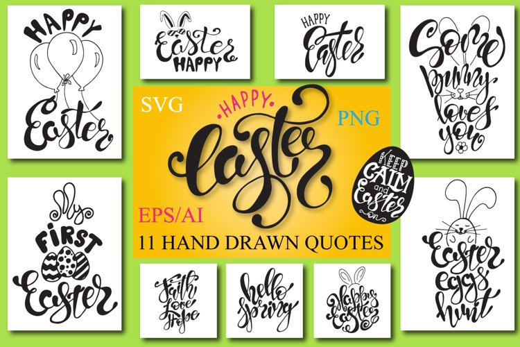 Easter quotes. Spring lettering set example image 1