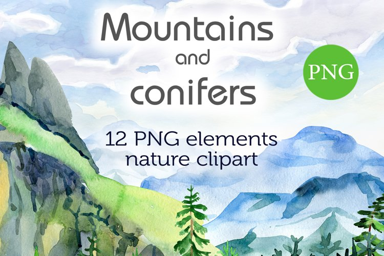 Watercolor Mountains and conifers example image 1