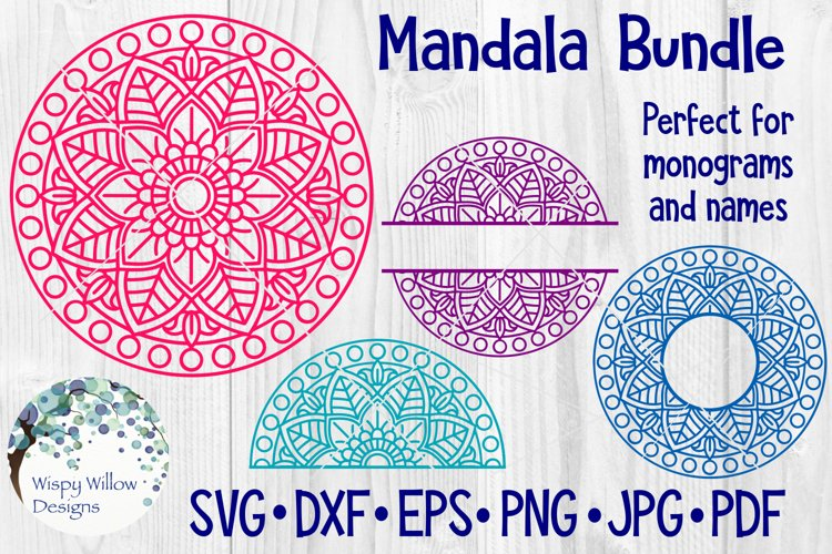 Mandala Bundle SVG Bundle | Monogram Mandala | Half Mandala example image 1