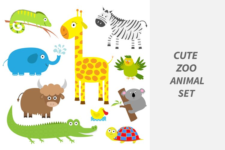 Cute zoo animal set. example image 1