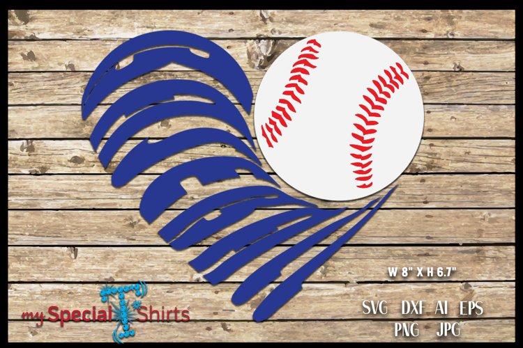 Baseball Heart Cut Out SVG, DFX, EPS, JPG, PNG