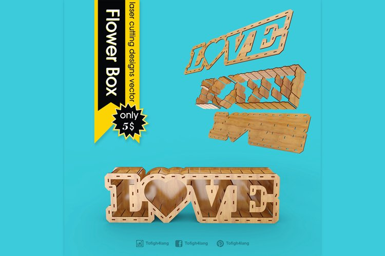LOVE BOX - laser cut file example image 1
