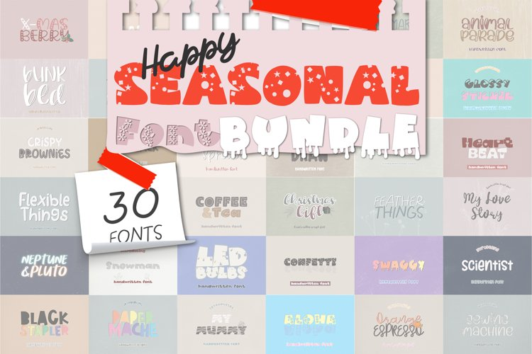 Happy Seasonal Font Bundle - 30 Cute Handwritten Fonts example image 1