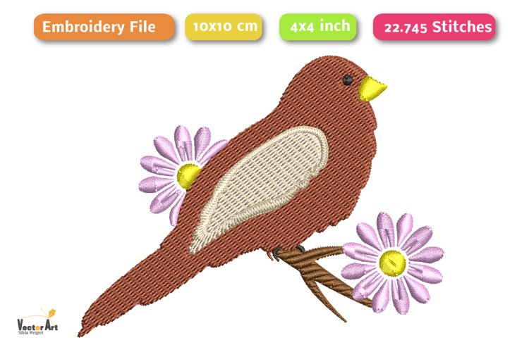 Bird on a Branch - Embroidery File example 1