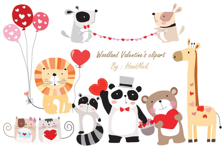 Woodland Valentine's clipart example image 1