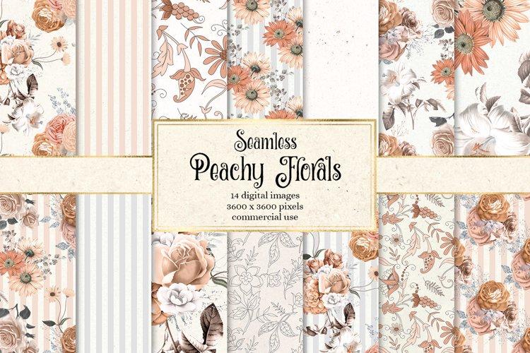 Peachy Floral Digital Paper example image 1