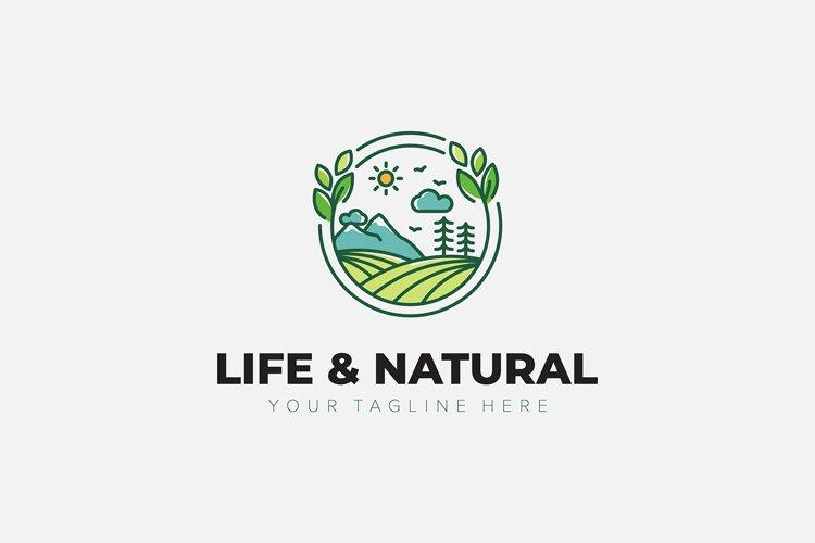 Natural and Life Landscape green logo designs minimalist
