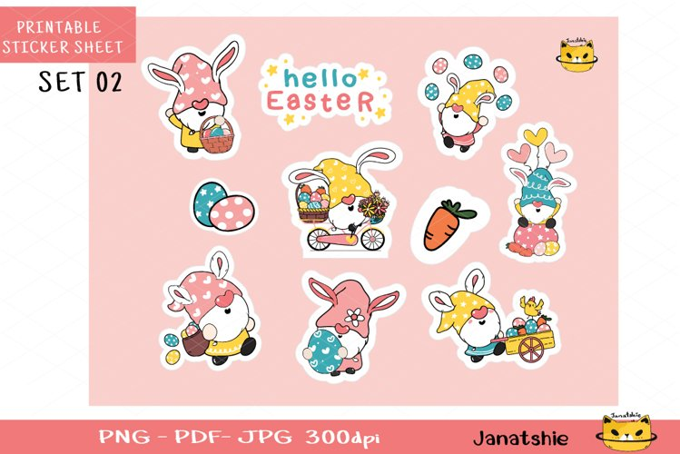 Easter Gnome Printable Stickers, Digital Printable sheet 2 example image 1