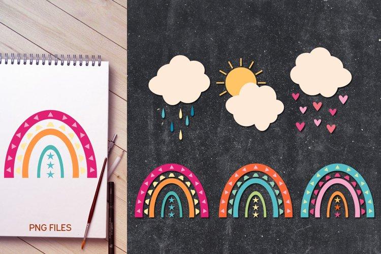 Modern rainbow and cloud illustrations