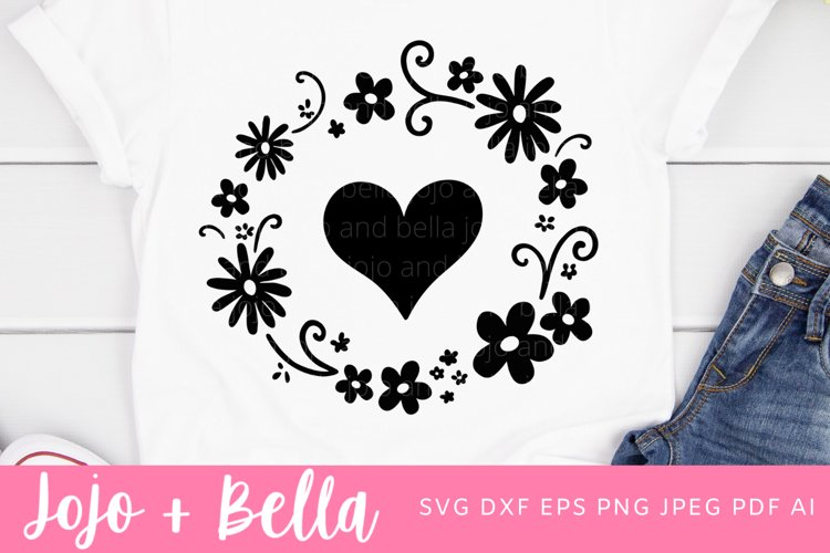 Heart Flower Wreath Svg | Flower Wreath Svg example image 1