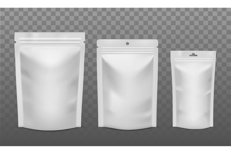Zip package. Blank foil bags of different size, plastic sach example image 1