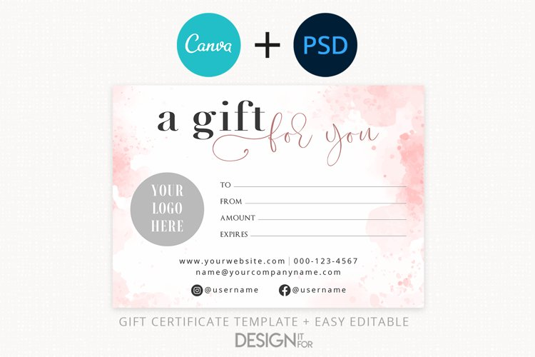 Pink Gift Certificate Template, Editable Gift Certificate