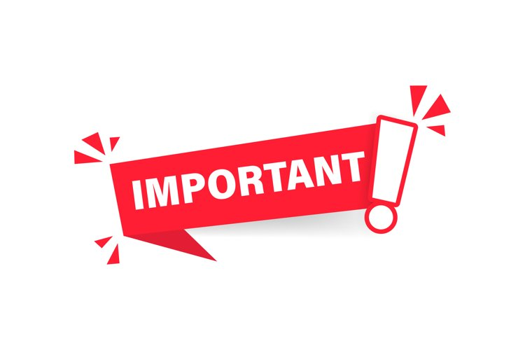 Important notice icon for attention message banner example image 1