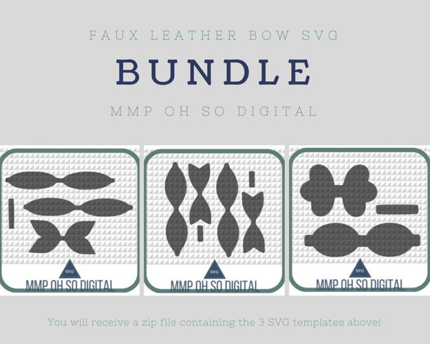 Faux Leather Bow SVG Bundle, Bow Template, Bow SVG, Template Bundle, SVG Bundle, Scalloped Bow svg, Baby Shower Gifts example image 1