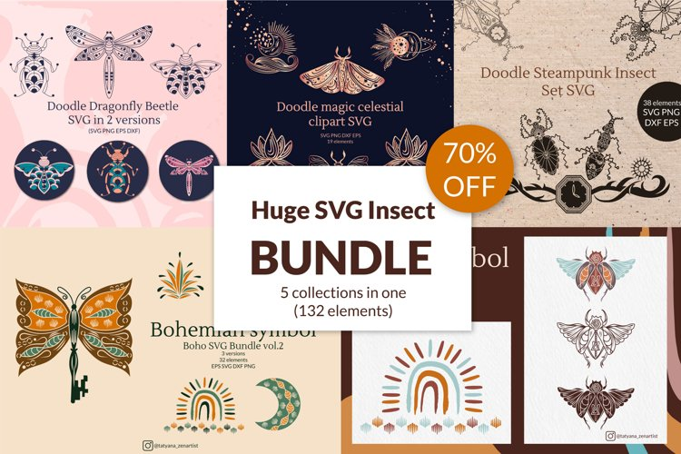 Huge Doodle Insect Bundle SVG Graphic 5 in 1 70 OFF