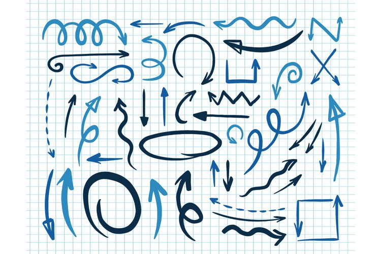 Blue arrow set. Sketch marker drawing. example image 1