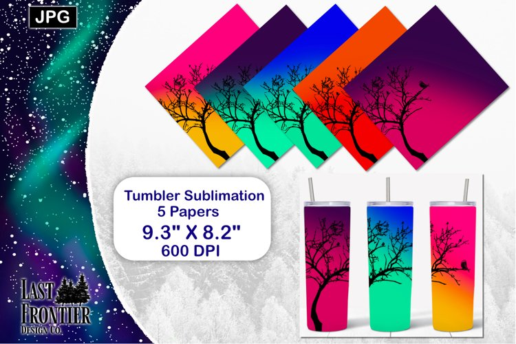 Skinny Tumbler Ombre Bird Wrap Sublimation example image 1