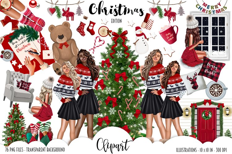 Fashion CHRISTMAS Girl Illustration example image 1