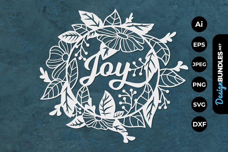 Joy with Floral Frame for Papercut example image 1