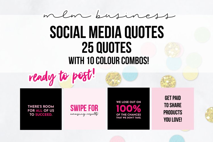 25 x Pink & Black MLM Social Media Quotes example image 1