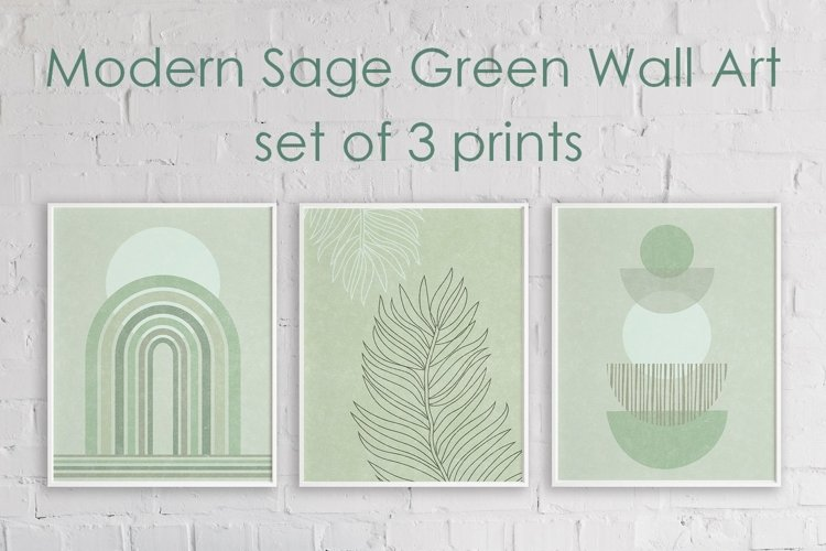 Sage Green Modern Wall Art - Set of 3 Prints \ Mid Century example image 1