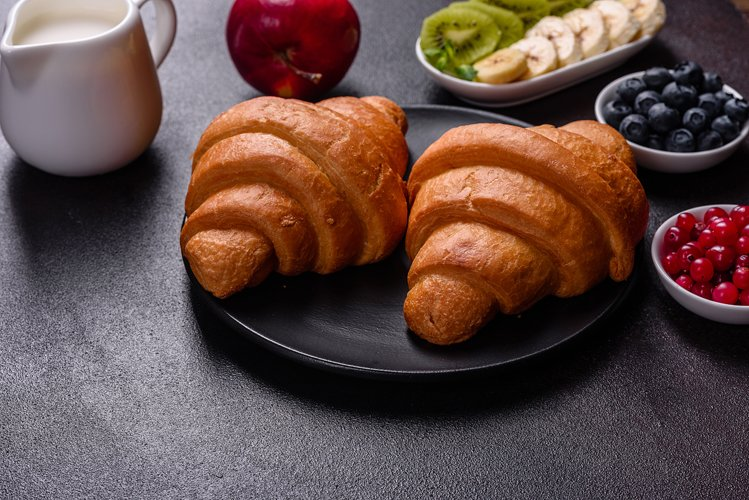 Delicious breakfast with fresh croissants. 5 photos