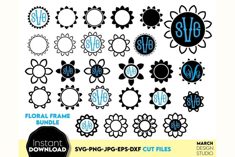 Monogram frame SVG. Circle frame SVG, Floral frame svg, example image 1