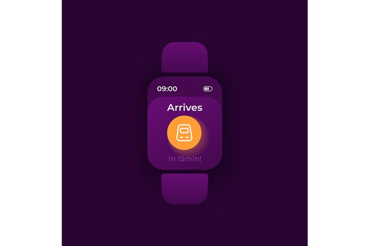 Trip notice smartwatch interface vector template example image 1