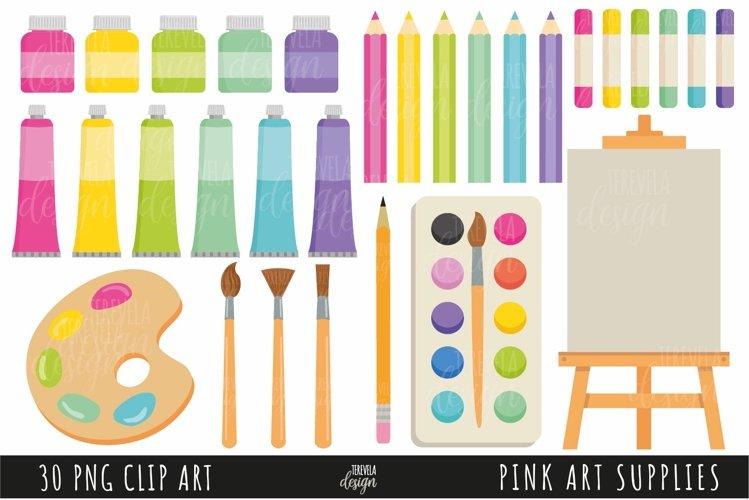 ART SUPPLIES clipart, SCHOOL, PINK ART SUPPLIES