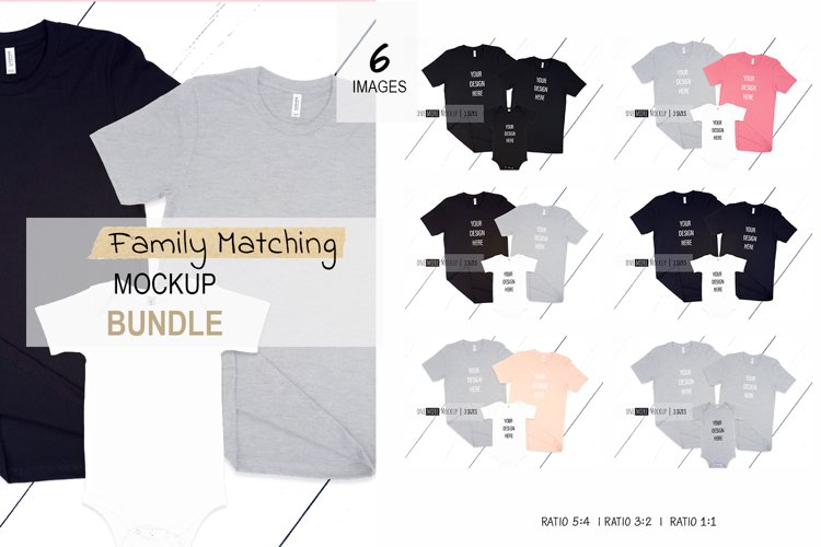 Family Tshirts Mockup Bundle  Bella Canvas 3001, 100B example image 1